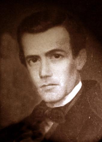 Único retrato fotográfico de Aurelio Aguirre, realizado hacia 1855, cuando alcanza la primera notoriedad exterior. A pesar de su deficiente calidad, será la base de toda la iconografía posterior