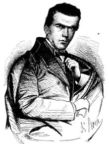 Retrato de Aurelio Aguirre por Arturo Perea, grabado por José Severini para El Museo Universal