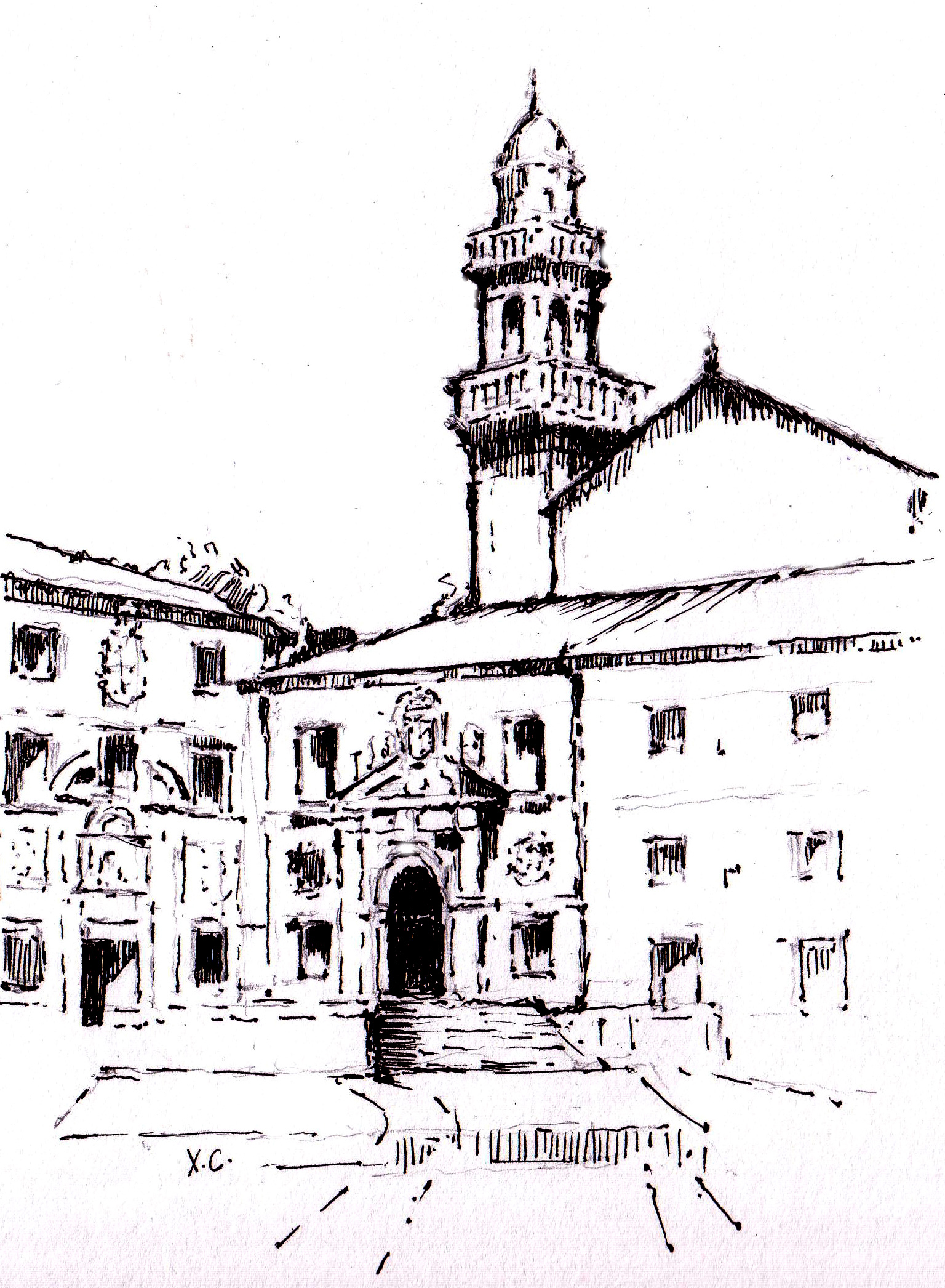 El cementerio general de Santiago era entonces el anexo a Santo Domingo de Bonaval (dibujo de Pepe Comoxo