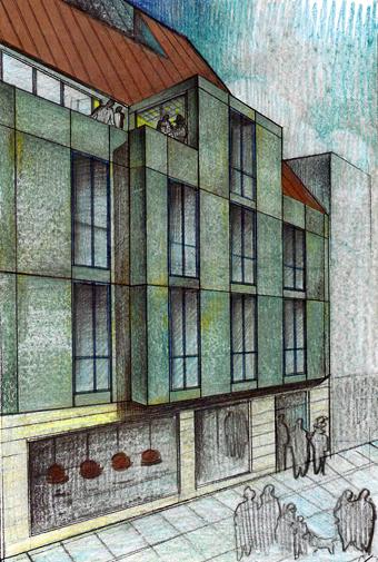 Dibujo de Quique Barreiro con el diseño de la fachada de nuestra casa de Pontevedra (Calle Herreros-Rúa dos Ferreiros, 9), alzada desde los cimientos donde estuvo la de nuestros padres. En honor suyo