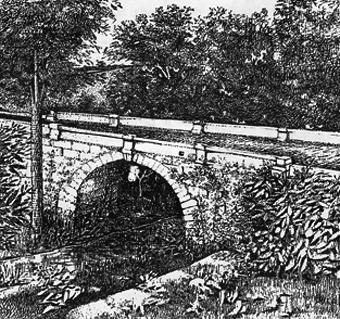 El puente de Valga, con la exuberancia del Real Plantío. Grabado antiguo