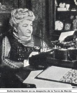 Emilia Pardo Bazán en su taller del pazo de Meirás en los últimos años de su vida