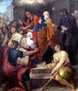 Simón el Mago tratando de comprar el don del Espíritu Santo. Óleo de Avanzino Nucci