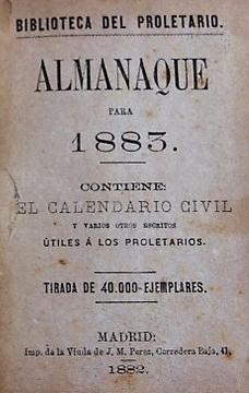 Almanaque para 1883 de la Biblioteca del Proletario