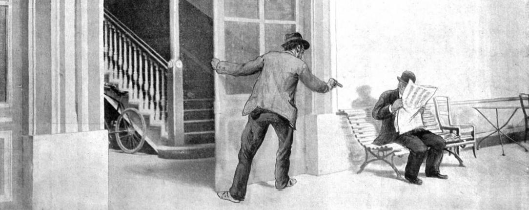 Figuración del asesinato de Antonio Cánovas del Castillo