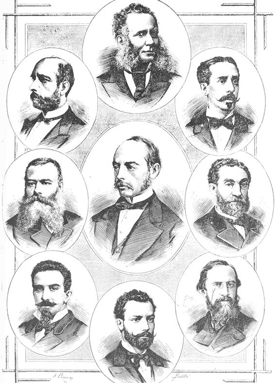 Primer equipo directivo de la Institución Libre de Enseñanza. De los nueve integrantes, tres son gallegos: Eduardo Gasset y Justo Pelayo Cuesta (primero y segundo, contando desde la izquierda) y Eduardo Chao (noveno)