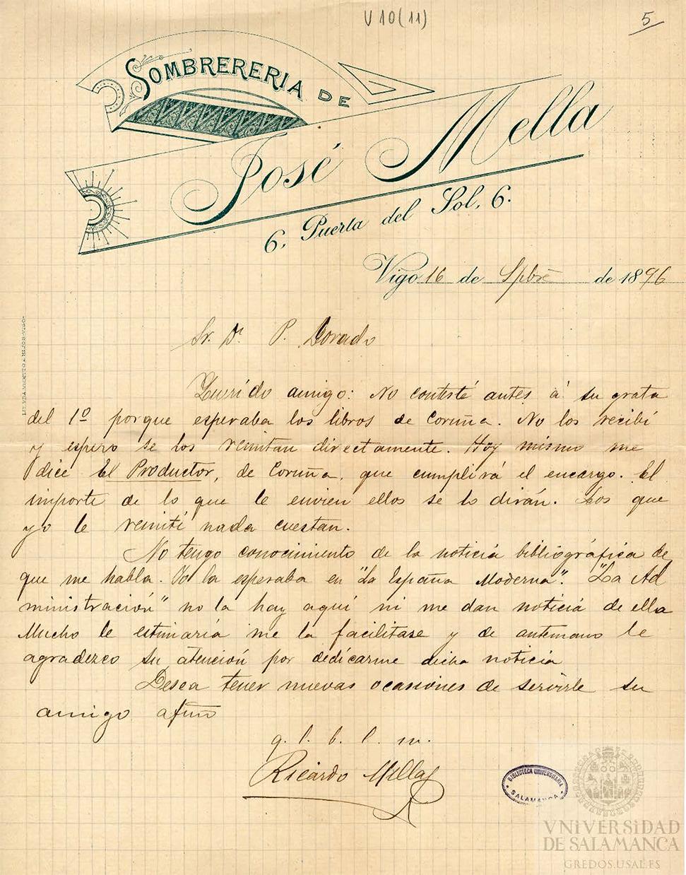 Membrete de una carta de Ricardo Mella a Pedro Dorado, con la última instalación de la sombrerería de Jose Mella Buján en Vigo