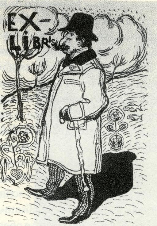 Camilo Bargiela en su exlibris, diseñado por Pablo Picasso