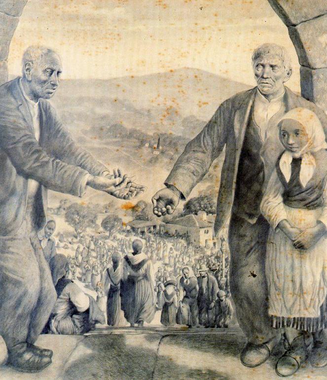 La romería y los ciegos de Castelao pidiendo limosna a la puerta del santuario. Museo de Pontevedra
