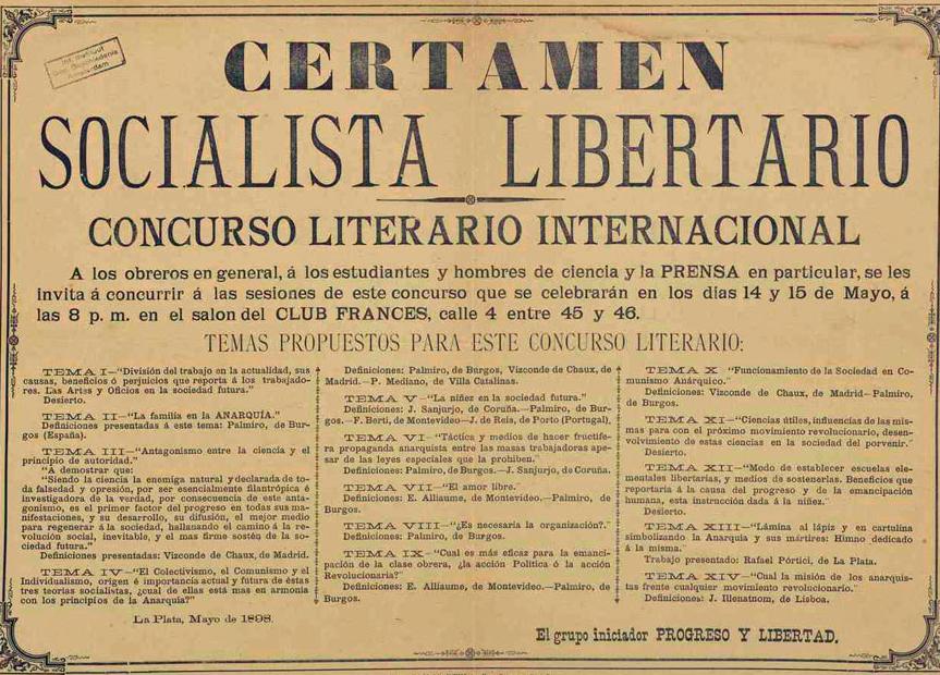 Convocatoria del Certamen Socialista de La Plata